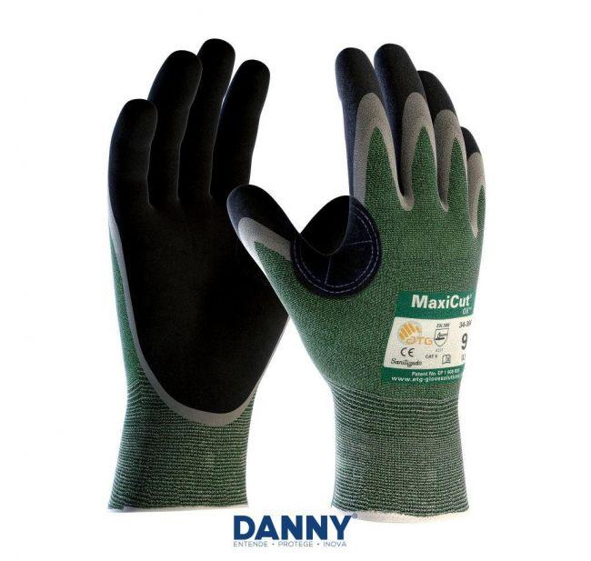 Luva Maxicut 3 Óleo Tricotada Com Borracha Nitrílica Palma PU Foam Oil Danny C.A. 27954